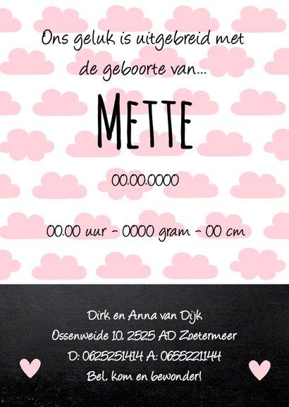 Geboortekaartje meisje wolkjes krijtbord roze  3
