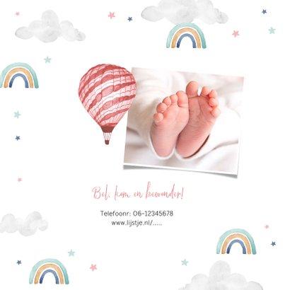 Geboortekaartje meisje wolkjes luchtballon regenboog foto 2