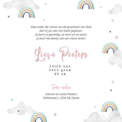 Geboortekaartje meisje wolkjes luchtballon regenboog foto 3