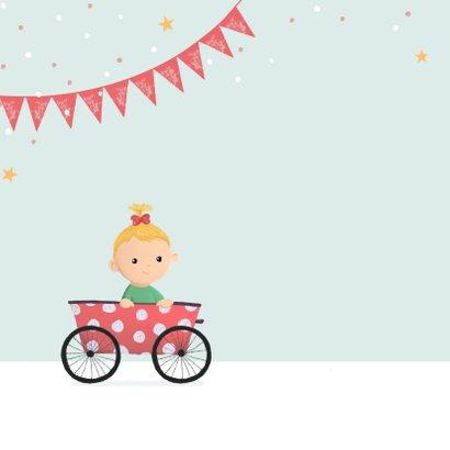 Geboortekaartje meisje zusje feest fiets karretje 2