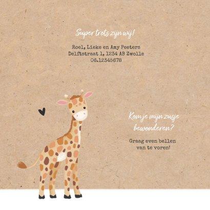 Geboortekaartje meisje zusje giraf kraft hartjes 2