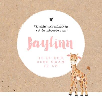 Geboortekaartje meisje zusje giraf kraft hartjes 3