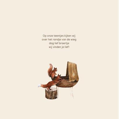 Geboortekaartje met bosdieren van wiegje illustratie 2