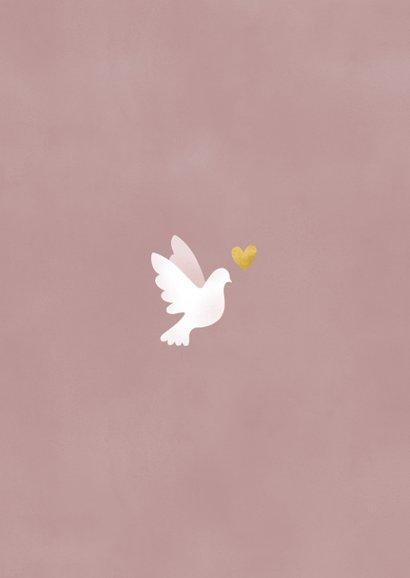 Geboortekaartje met duifjes, waterverf en gouden spetters Achterkant