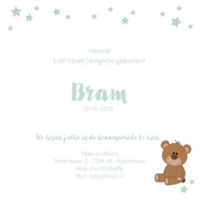 Geboortekaartje met een schattige baby met knuffelbeer  3