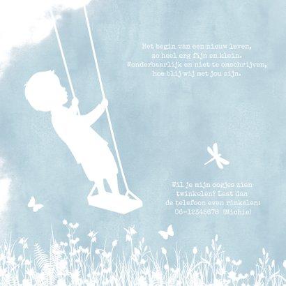 Geboortekaartje met een silhouet van een jongen op schommel 2