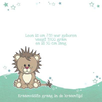 Geboortekaartje met een stoere lieve leeuw met sterren 2