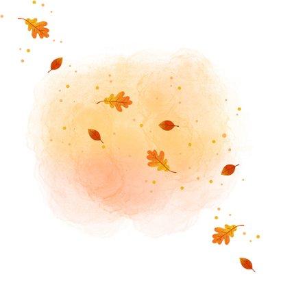Geboortekaartje met een vosje en herfstbladeren Achterkant