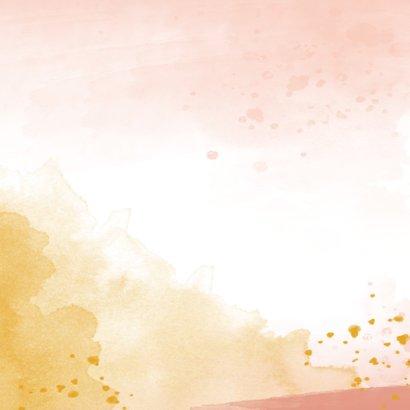 Geboortekaartje met flamingo illustratie en waterverf  Achterkant