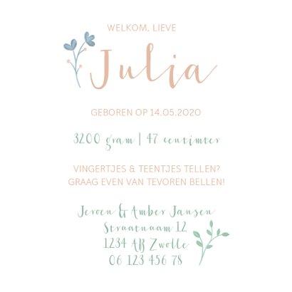 Geboortekaartje met geïllustreerde bloemen meisje 3