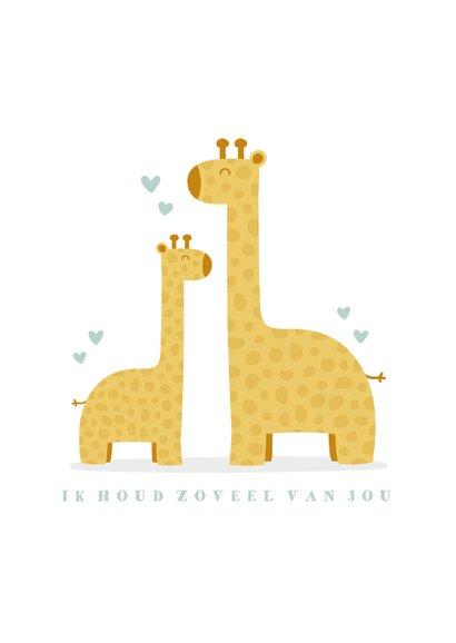 Geboortekaartje met giraffes en hartjes  jongen 2