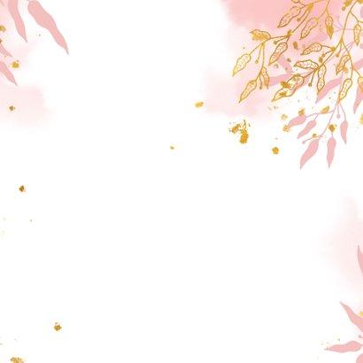 Geboortekaartje met gouden bladeren en waterverf stijlvol Achterkant