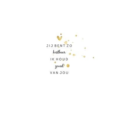Geboortekaartje met gouden spetters en hartjes 2