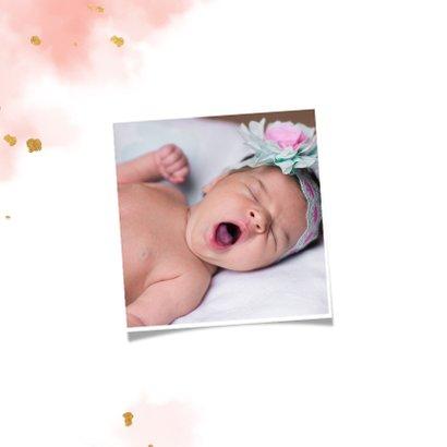 Geboortekaartje met gouden vlinder en waterverf 2