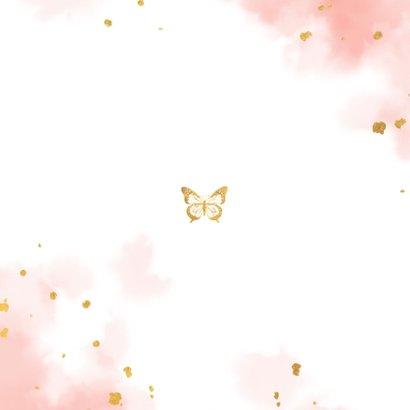 Geboortekaartje met gouden vlinder en waterverf Achterkant