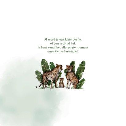 Geboortekaartje met groene waterverf en luipaarden 2