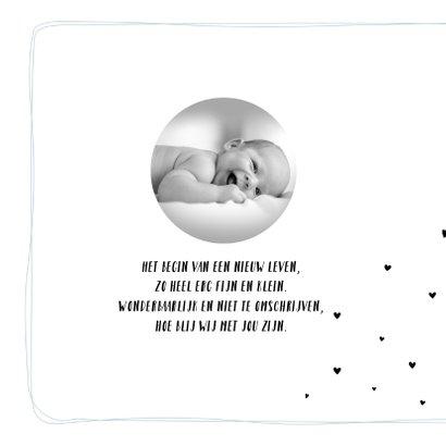 Geboortekaartje met hartjes en lijnen voor jongen 2