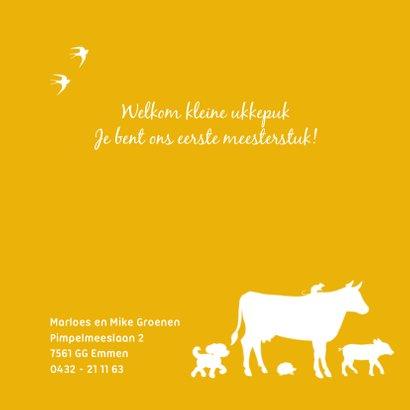 Geboortekaartje met jongetje op trekker en boerderijdieren 2