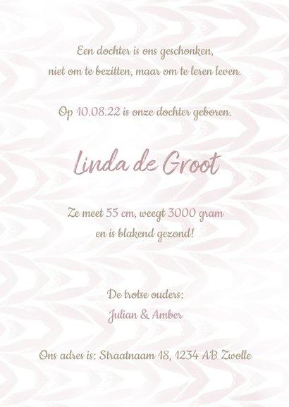 Geboortekaartje met label en waterverf meisje 3