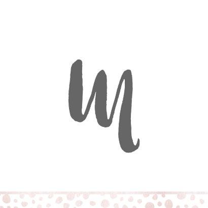 Geboortekaartje met letter en roze patroon 2