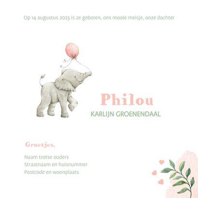 Geboortekaartje met lieve illustratie olifantje in aquarel 3