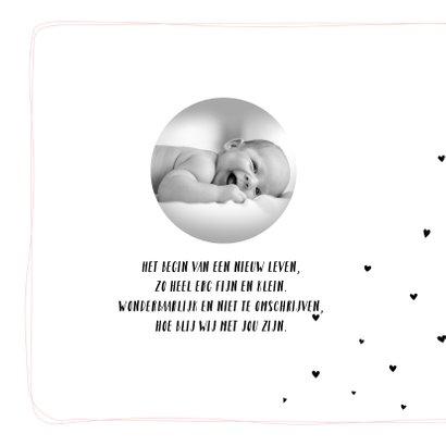 Geboortekaartje met lijnen en hartjes voor meisje 2