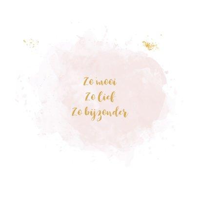 Geboortekaartje met lijntekening baby op roze watervlek 2