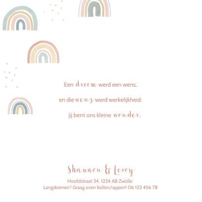 Geboortekaartje met regenboogjes en stipjes 2