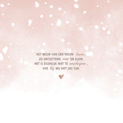 Geboortekaartje met roze waterverf en witte confetti 2
