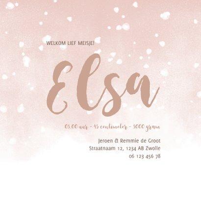 Geboortekaartje met roze waterverf en witte confetti 3