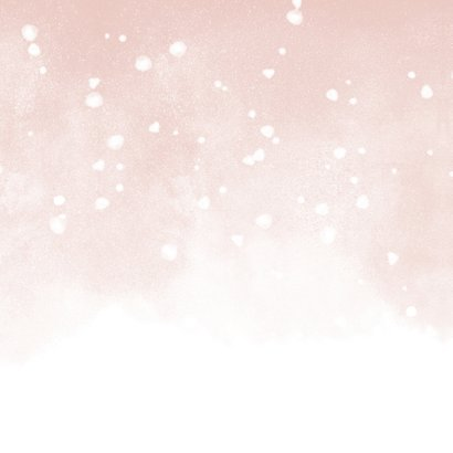 Geboortekaartje met roze waterverf en witte confetti Achterkant