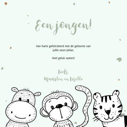 Geboortekaartje met safari dieren om een mintgroene cirkel 3