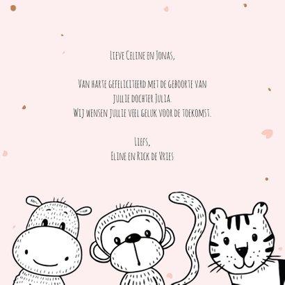 Geboortekaartje met safari dieren om een oudroze cirkel 3