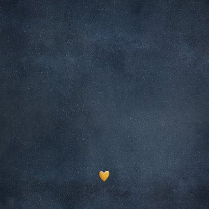 Geboortekaartje met silhouet van een jongen op gouden maan Achterkant