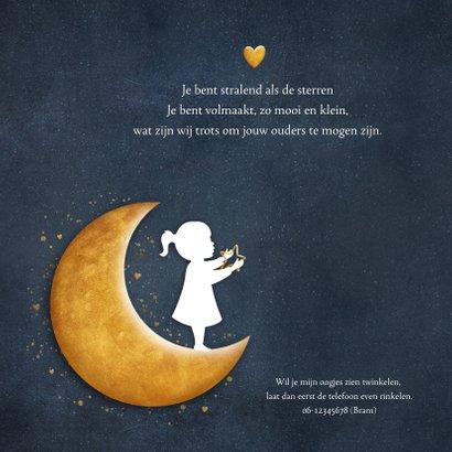 Geboortekaartje met silhouet van een meisje op gouden maan 2