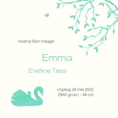 Geboortekaartje met silhouet van een zwaan met jong 3