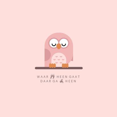 Geboortekaartje met simpel lief roze uiltje 2
