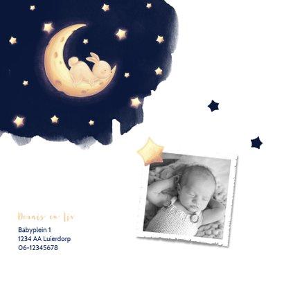 Geboortekaartje met slapend konijntje op maan 2