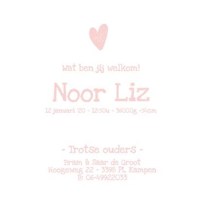 Geboortekaartje met stoere roze achtergrond 3