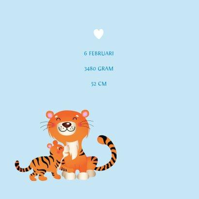 Geboortekaartje met tijgers en hartjes 2
