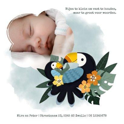 Geboortekaartje met toekans, plantjes, bloemen en waterverf 2