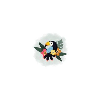Geboortekaartje met toekans, plantjes, bloemen en waterverf Achterkant