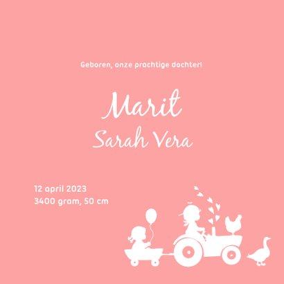 Geboortekaartje met tractor voor een zusje 3
