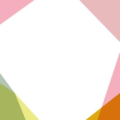 Geboortekaartje met vrolijk gekleurde vlakken Achterkant