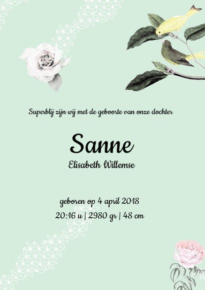 Geboortekaartje met vrolijke vogeltjes, bloemen en pompoms 3