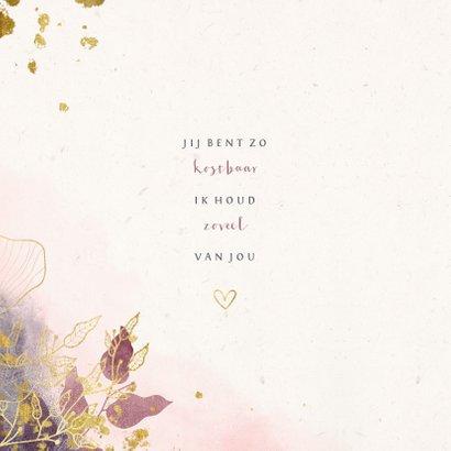 Geboortekaartje met waterverf en gouden bloemen stijlvol 2