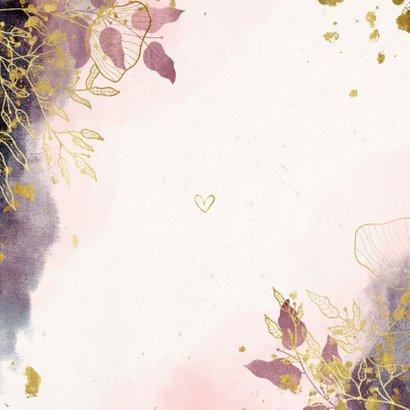 Geboortekaartje met waterverf en gouden bloemen stijlvol Achterkant