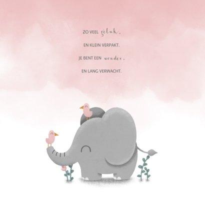 Geboortekaartje met waterverf, lieve olifant en vogeltjes 2