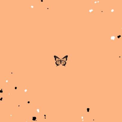 Geboortekaartje met zwarte vlinder en spetters Achterkant