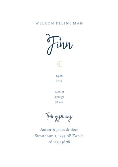 Geboortekaartje minimalistisch maantje blauw jongen letter 3